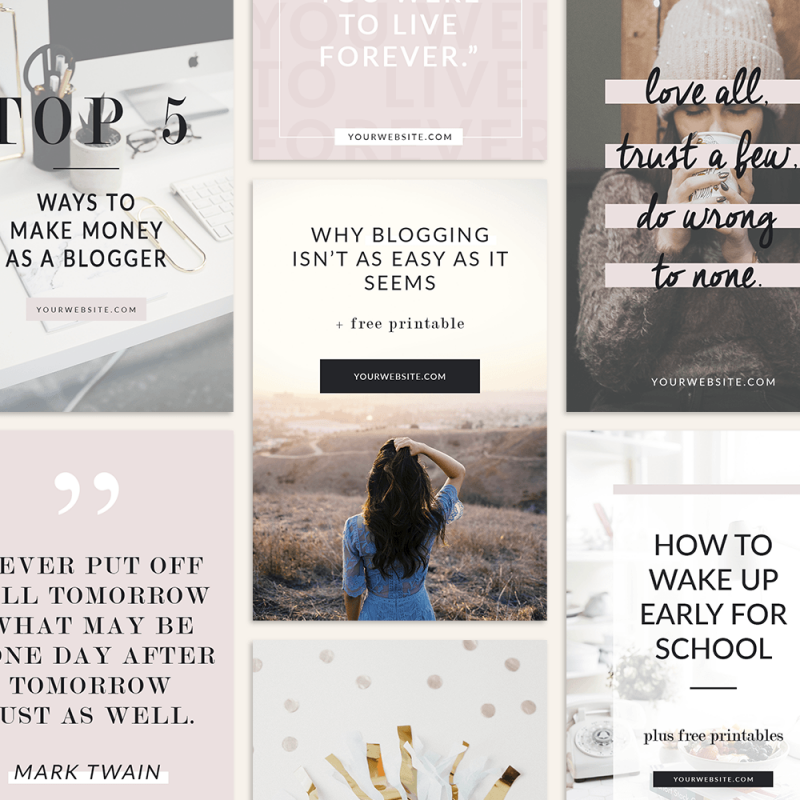 Pinterest Templates. Pink Lifestyle. Social Media Graphics.