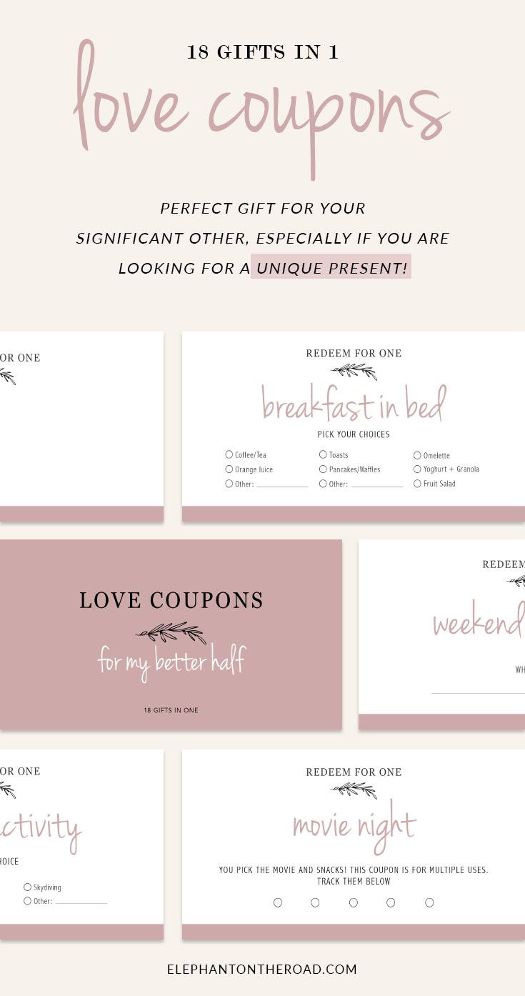 Love Coupons For Your Better Half - 18 Gifts In One. Gifts for Couples. Gifts For Long Distance Relationships. Valentine's Day Gifts. Christmas Gift Ideas For Couples. Love Coupon Book. image 0 image 1 image 2 image 3 image 4 Fun Love Coupon Book. Gifts For Boyfriend. Gifts For Girlfriend. Gifts For Husband. Gifts For Wife. Printable Coupons for Boyfriend / Girlfriend. Anniversary. DIY. PDF. 7 Cheap Christmas Gifts For Long Distance Relationships. Gift Ideas. Gift Guide. Holidays. Christmas Presents. Christmas Gifts. LDR. Long Distance Relationship Problems. Gifts For Boyfriend. Gifts For Girlfriend. Gifts on a Budget. Elephant on the Road.