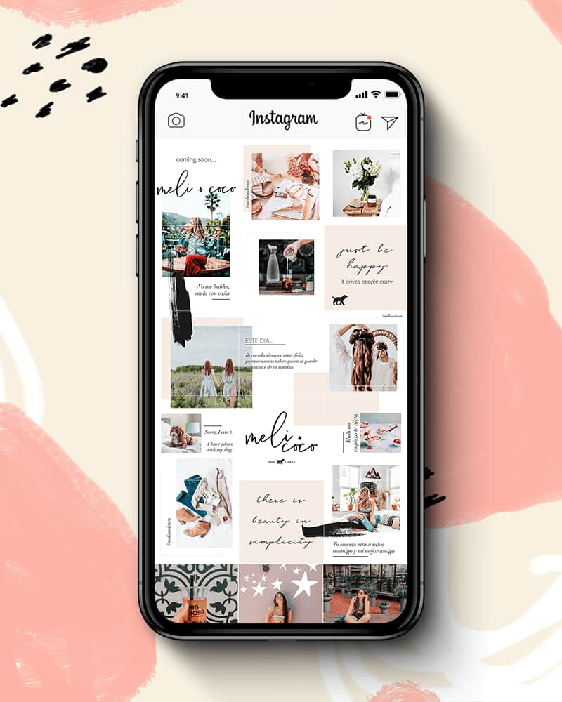 Instagram Puzzle Template For Canva. Puzzle Feed For Instagram. Customizable Instagram Feed. Elephant on the Road.