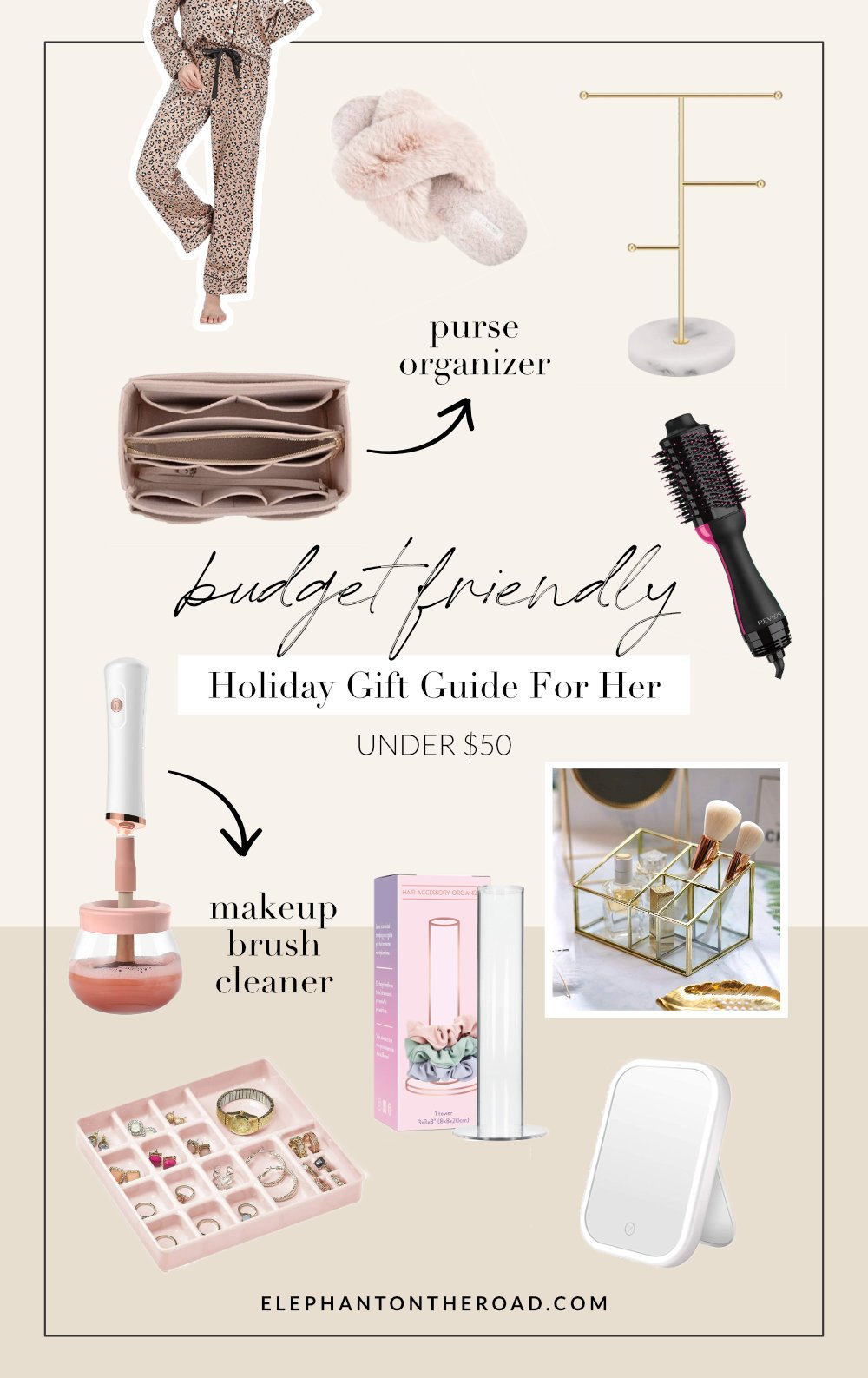 Budget-Friendly Holiday Gift Guide For Her. Cheap Christmas Gift Ideas For Girlfriend. Affordable Christmas Gift Ideas For Wife. Affordable Gift Guide For Her. Affordable Christmas Gift Guide. Elephant on the Road.